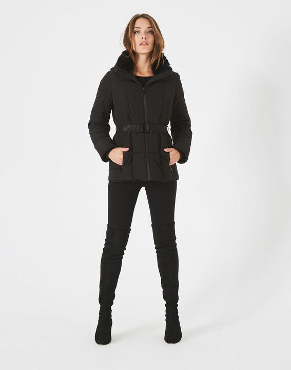 Livia black puffer jacket with a belt PhotoZ | 1-2-3