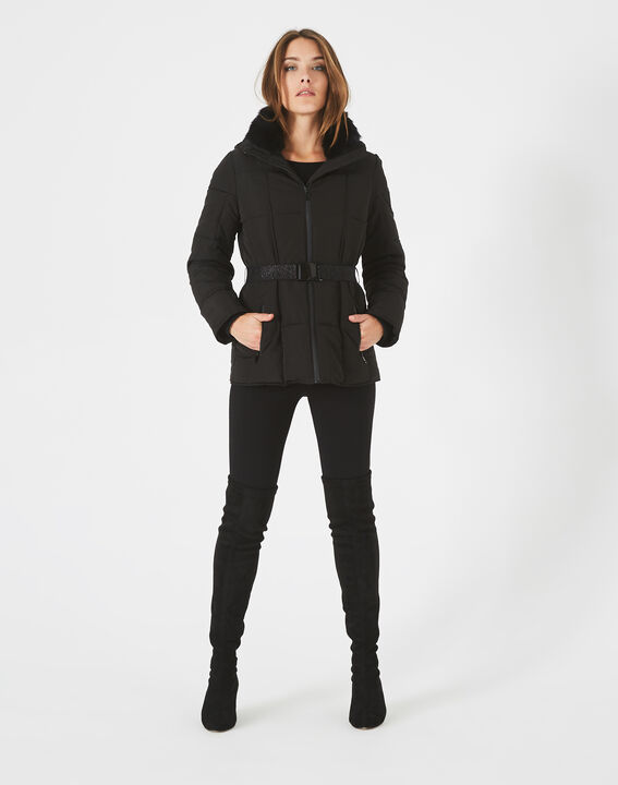 Livia black puffer jacket with a belt PhotoZ | 1-2-3