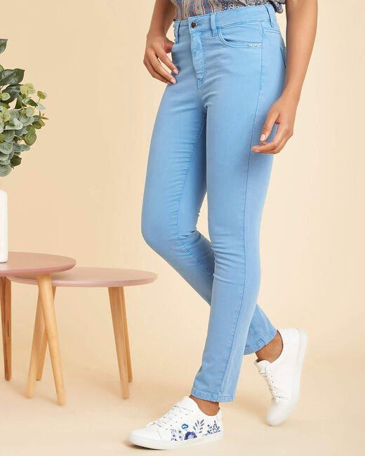 Blaue Washed Slim-Fit-Jeans normale Leibhöhe Vendome (2) - 1-2-3