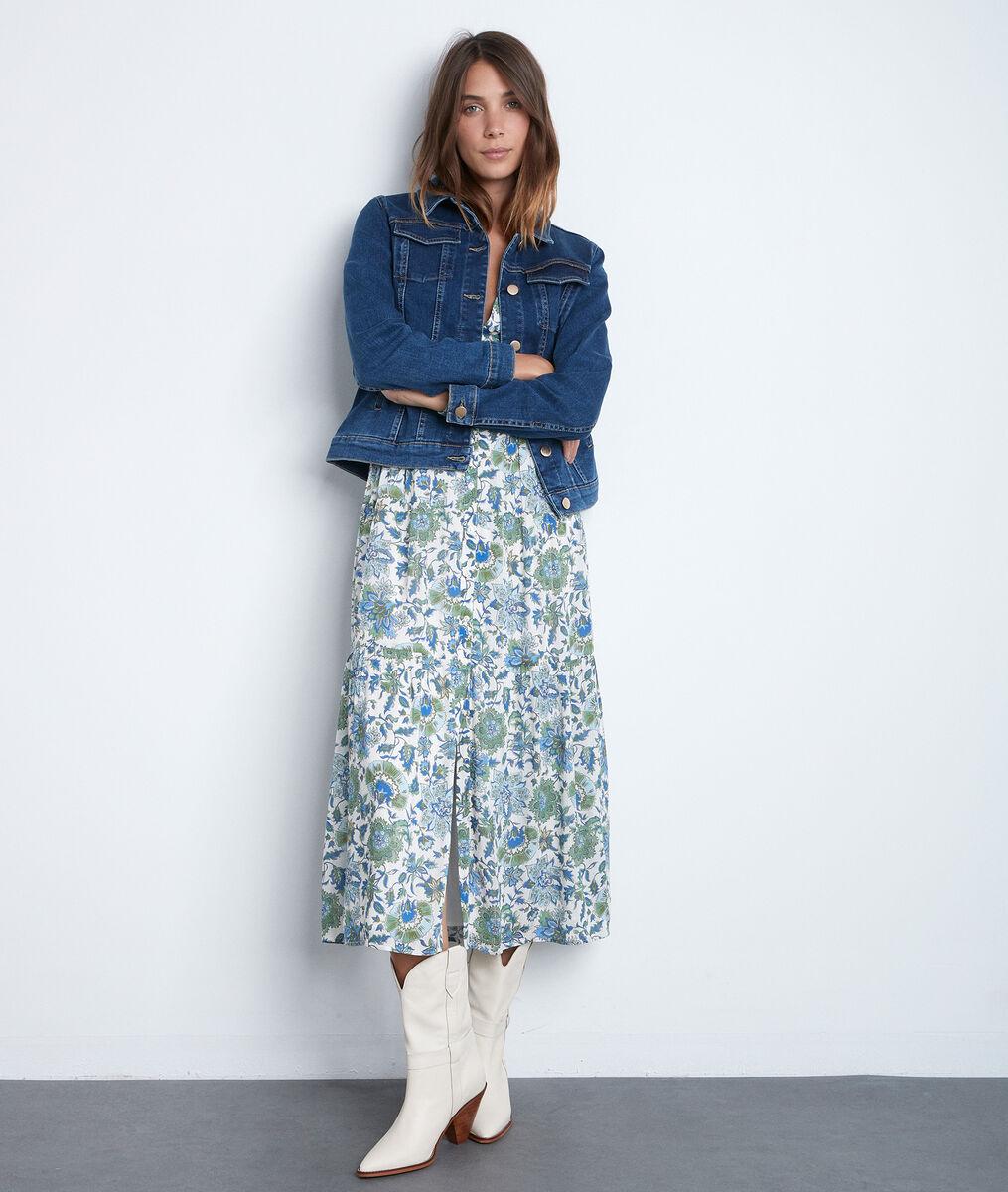 Robe longue bohème à l'imprimé floral bleu et vert Carola PhotoZ | 1-2-3