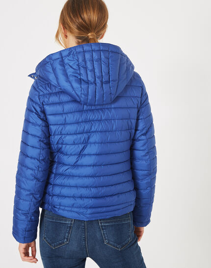 Louise short quilted jacket in royal blue with a rounded collar (3) - 1-2-3