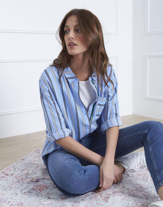 Blaue Bluse mit Streifenspiel Darwin (1) - Maison 123