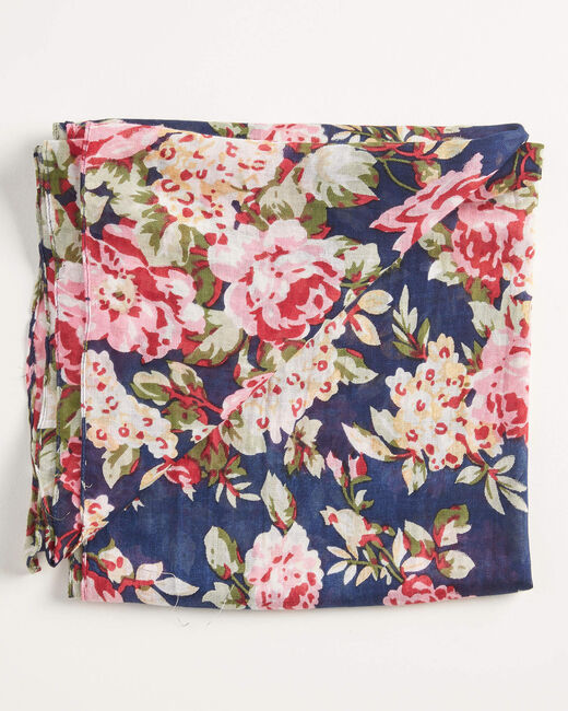 Foulard marine imprimé fleuri all-over Aron (2) - 1-2-3
