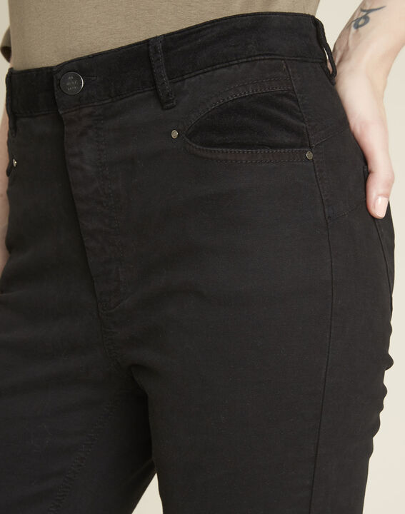 Honoré black slim-fit 7/8 jeans with velvet panels (3) - 1-2-3