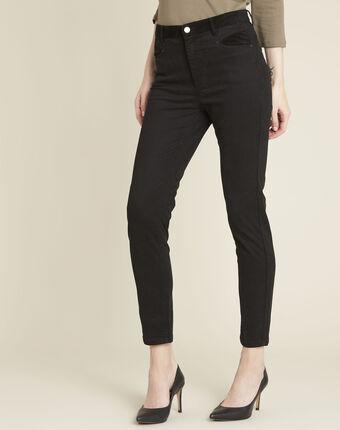 Slim-fit zwarte jeans 7/8 met fluwelen inzetstukken honoré noir.