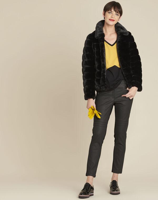 Veste noire fausse fourrure réversible Laura (2) - 1-2-3