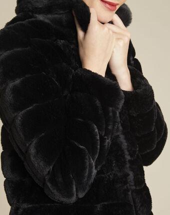 Laura black reversible faux fur jacket black.