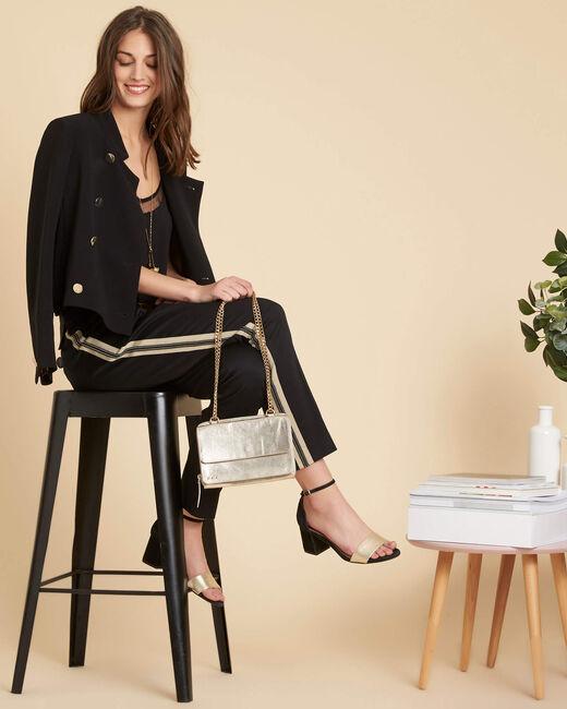 Pantalon slim noir à bandes coton 7/8 Francis (1) - 1-2-3