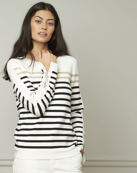 Amiral pullover with stripes and lacing details PhotoZ | 1-2-3