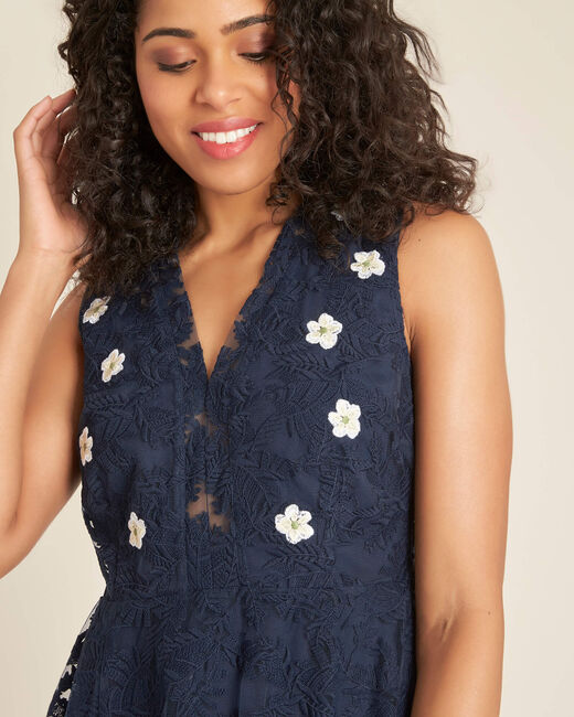 Iris tulle embroidered dress in navy (2) - 1-2-3