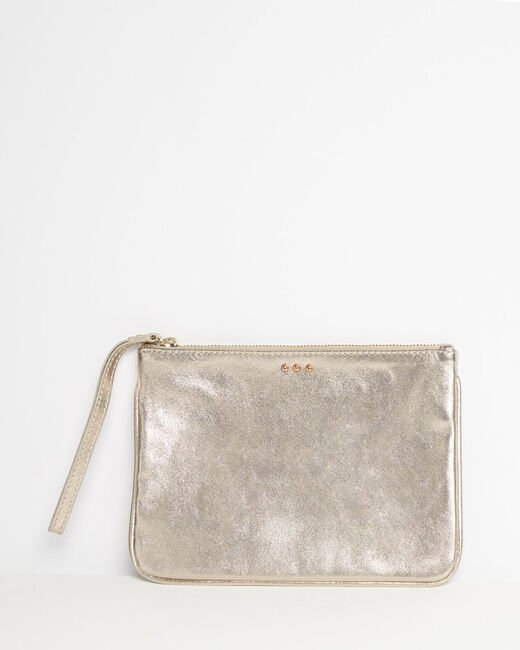 Droopy metallic clutch with leather straps (2) - 1-2-3