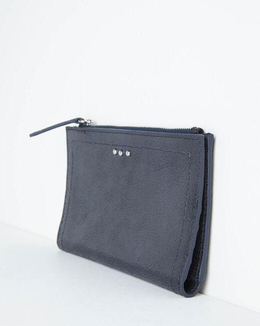 Schwarzes Leder-Portemonnaie mit zwei Klappen Dita (2) - 1-2-3