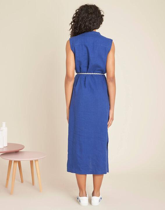 Papillon log blue linen shirt-dress (4) - 1-2-3