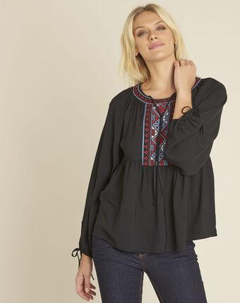 Schwarze bluse mit besticktem ausschnitt cerise schwarz.