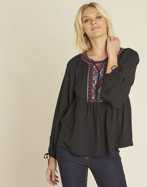 Cerise black blouse with embroidered neckline PhotoZ | 1-2-3
