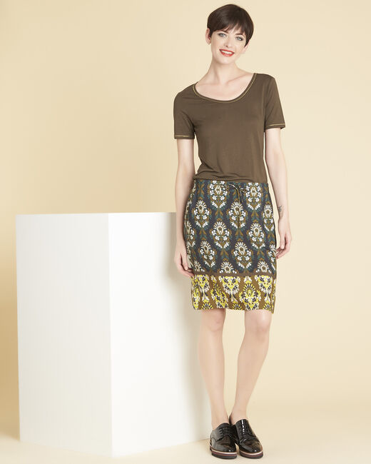 Luna straight black skirt with print (1) - 1-2-3