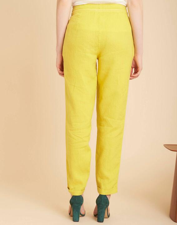 Pantalon jaune en lin Joris (4) - 1-2-3