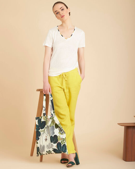 Elin ecru linen T-shirt with decorative neckline (1) - 1-2-3