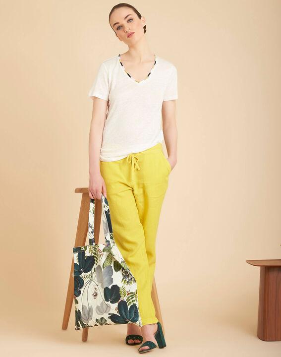 Elin ecru linen T-shirt with decorative neckline (2) - 1-2-3