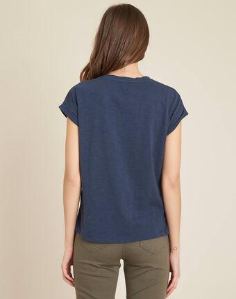 Blaues t-shirt mit blumenstrickereien ebrode dunkles indigoblau.