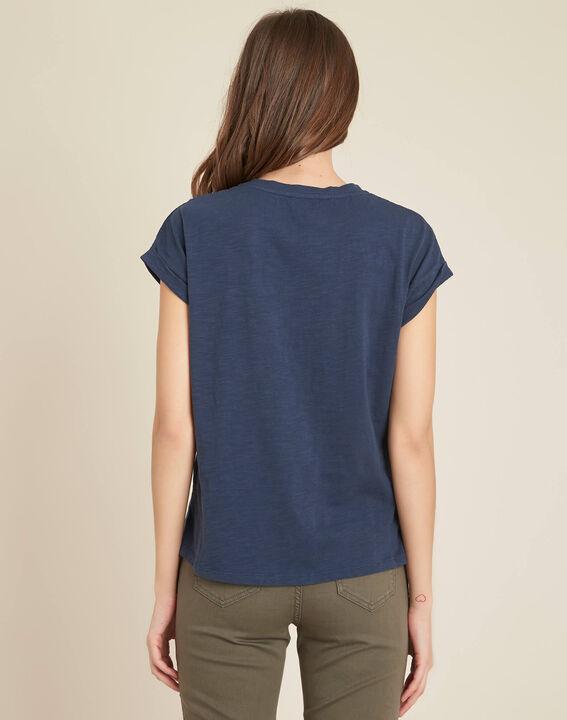 Tee-shirt bleu à broderies fleurs Ebrode PhotoZ | 1-2-3