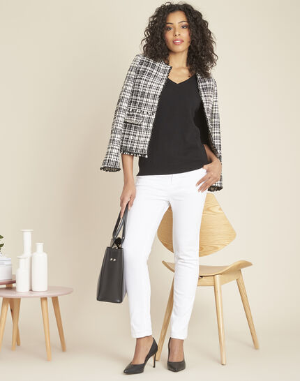 Pivoine black V-neck sweater in cashmere (3) - 1-2-3