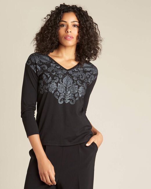 Email black printed T-shirt with plant print (2) - 1-2-3