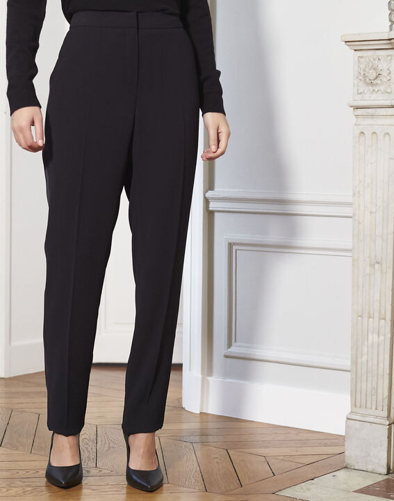 Hutch black cigarette trousers with satin band (2) - 1-2-3