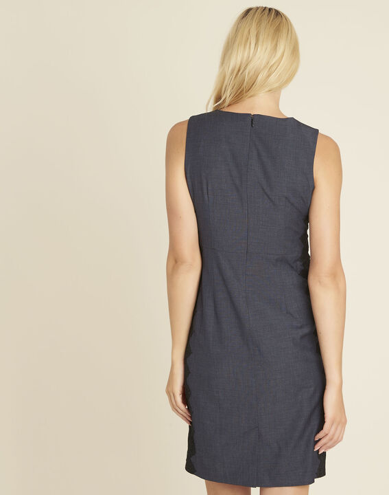 Dynastie navy blue dress with lace insert at the side (4) - 1-2-3
