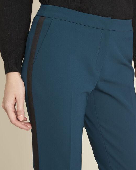 Pantalon vert foncé et sa bande latérale microfibre Suzanne (2) - 1-2-3