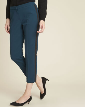 Suzanne dark green trousers with a microfibre sideband forest green.