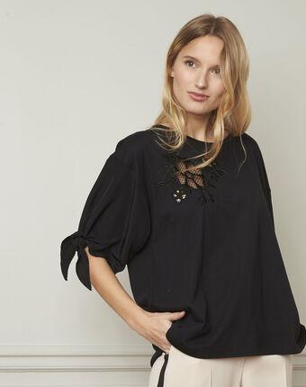 T-shirt noir fantaisie manches à nouer phuket noir.