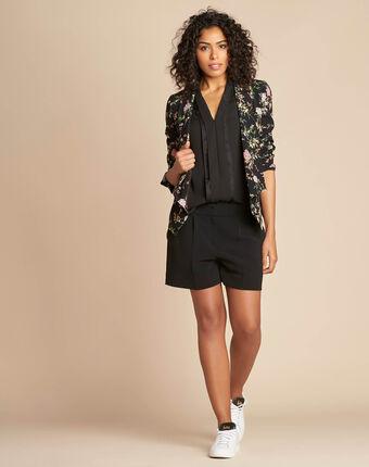 Carambole black printed jacket with shawl collar black.