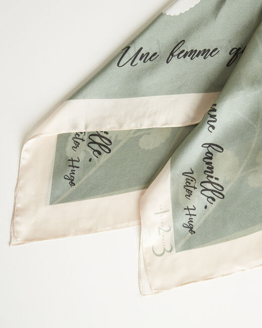 Amberita almond square silk scarf with floral quotation design (1) - 1-2-3