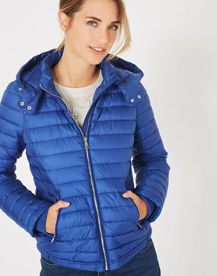 Louise short quilted jacket in royal blue with a rounded collar PhotoZ | 1-2-3