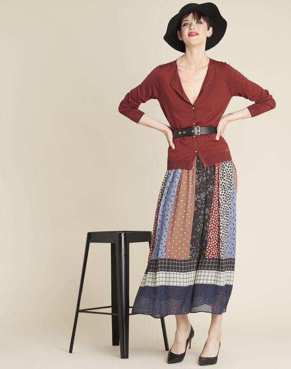 Mahoniebruin vest van dun tricot Bambou (3) - 37653