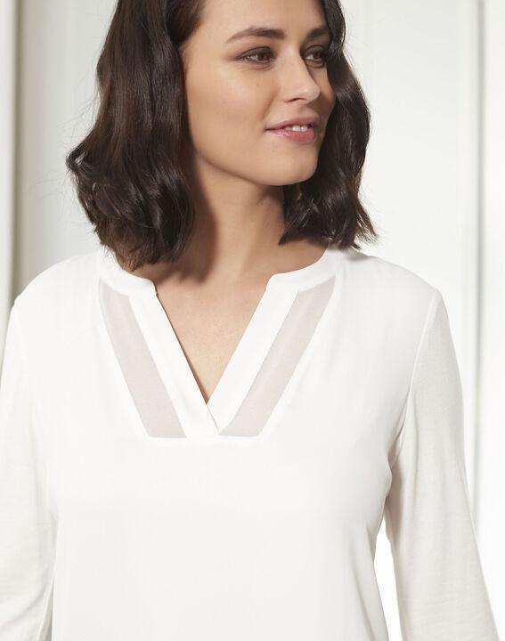 Ecrufarbene Bluse aus Bimaterial mit V-Ausschnitt Bianca (3) - 1-2-3