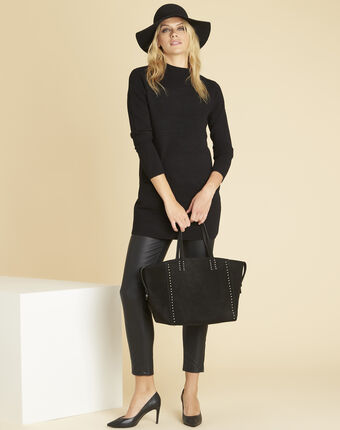 Belinda black dress with high collar black.