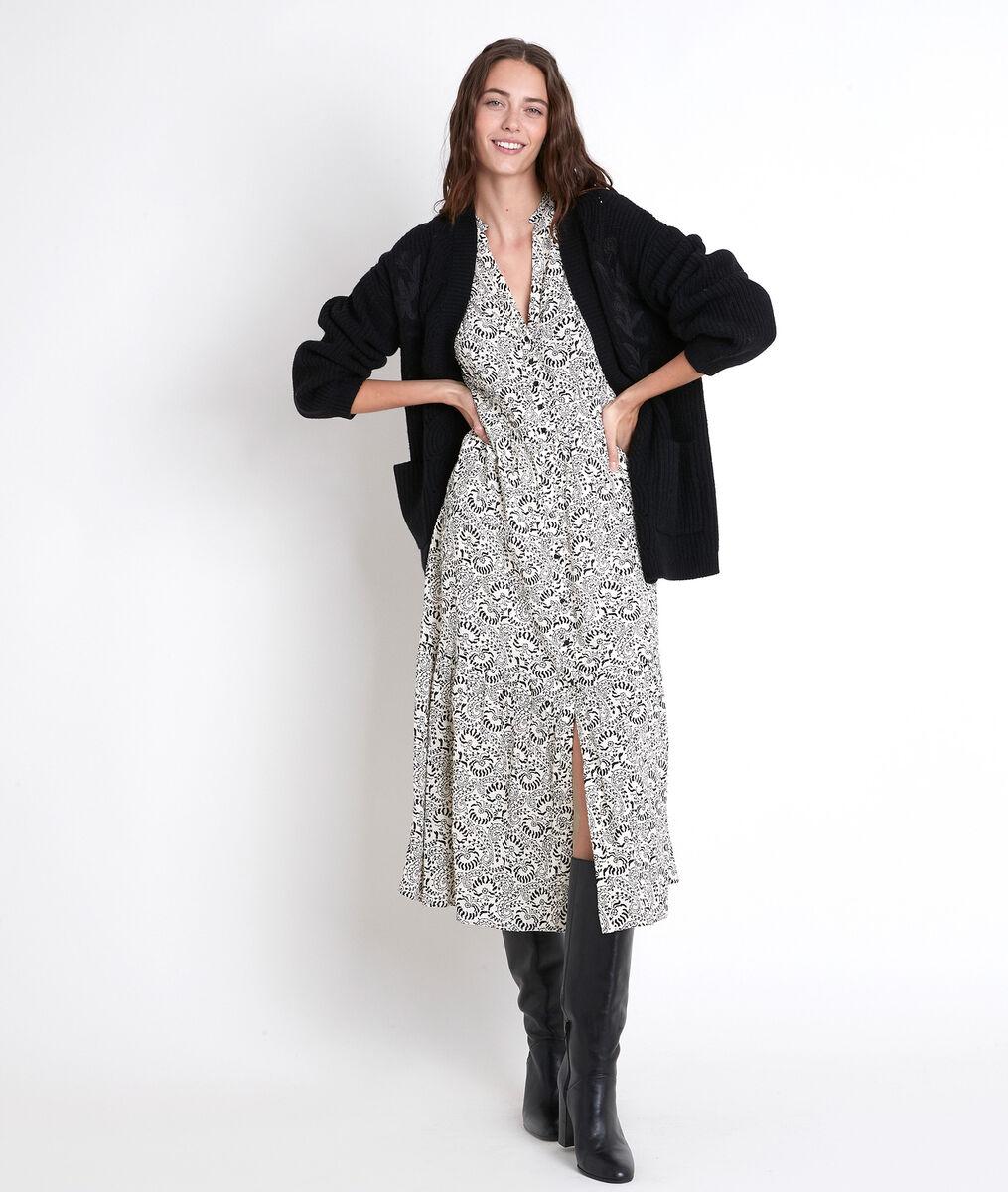 Langes Kleid mit Printmuster ecru Carola PhotoZ | 1-2-3