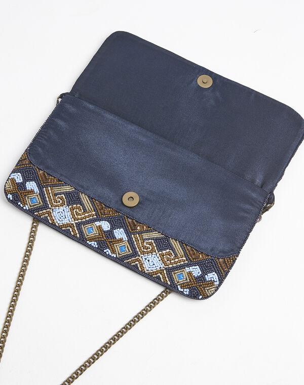 Pochette bleue avec broderies perlées dorées Irma (2) - 1-2-3