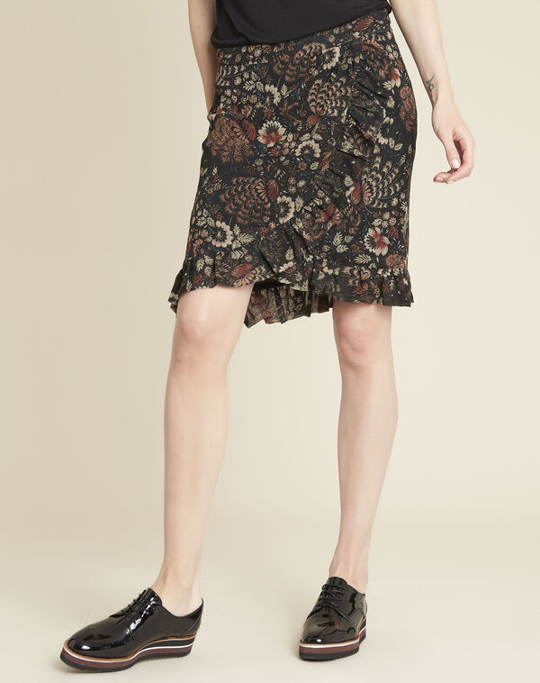 Anis black skirt with floral print (1) - 1-2-3