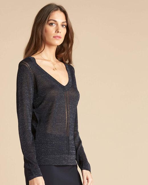 Marineblauer glänzender Pullover mit Ajour-Streifen Noisetier (2) - 1-2-3