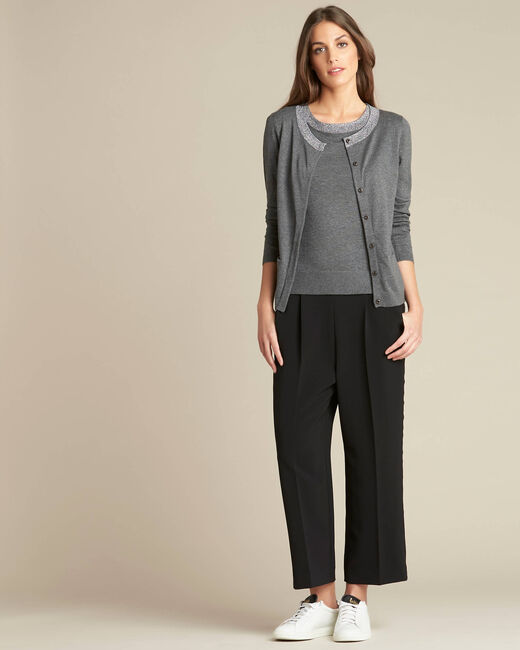 Nathalie grey cardigan in a cotton mix with shiny neckline (1) - 1-2-3