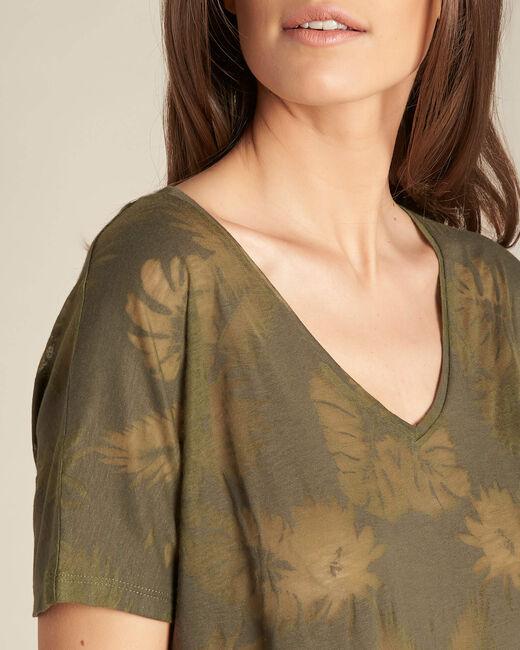 Tee-shirt kaki imprimé palmier Eflore (1) - 1-2-3