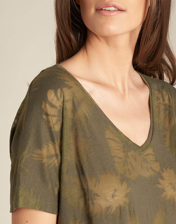 Eflore khaki T-shirt with palm print PhotoZ | 1-2-3
