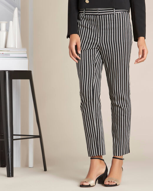 Francis striped cotton black tapered trousers (2) - 1-2-3