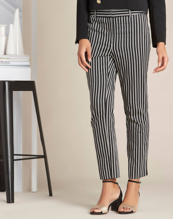 Francis striped cotton black tapered trousers (3) - 1-2-3