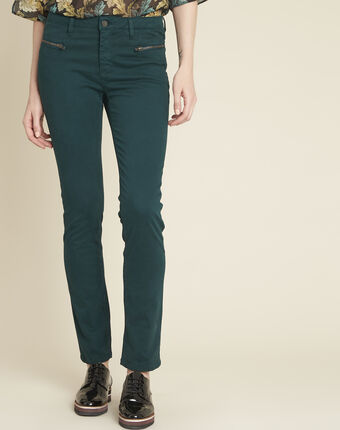Germain dark green straight-cut jeans with zipped pockets forest green.