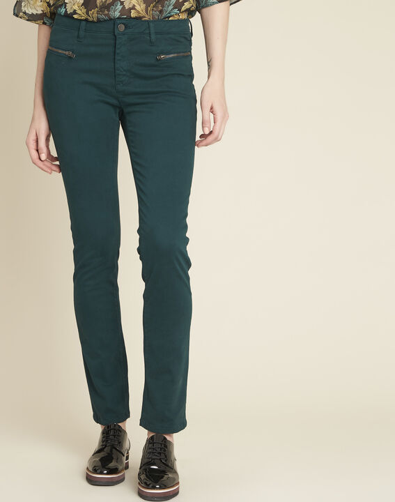 Germain dark green straight-cut jeans with zipped pockets (1) - Maison 123