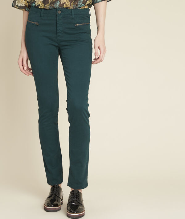 8952acec9bb942 Germain dark green straight-cut jeans with zipped pockets